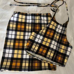Plaid skirt set